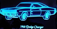 1968 Charger LF 2DR Acrylic Lighted Edge Lit LED Sign / Light Up Plaque Full Size Made in USA