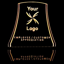 Trophy Award Logo Employee Customer Appreciation Acrylic Lighted Edge Lit LED Sign / Light Up Plaque Full Size Made in USA