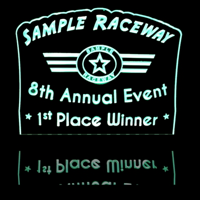 Raceway Trophy Award 1st Place Acrylic Lighted Edge Lit LED Sign / Light Up Plaque Full Size Made in USA