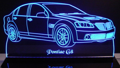 2008 Pontiac G8 Acrylic Lighted Edge Lit LED Sign / Light Up Plaque Full Size Made in USA