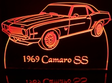 1969 Chevy Camaro SS Chevrolet Acrylic Lighted Edge Lit LED Sign / Light Up Plaque Full Size Made in USA