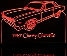 1967 Chevy Chevelle SS Chevrolet Acrylic Lighted Edge Lit LED Car Sign / Light Up Plaque
