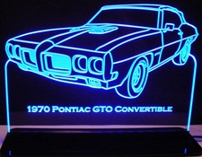 1970 Pontiac GTO Convertible Acrylic Lighted Edge Lit LED Car Sign / Light Up Plaque