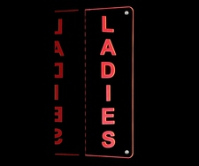 "Ladies Restroom Mens Double Sided Sign 16"" Acrylic Lighted Edge Lit LED Sign / Light Up Plaque Full Size Made in USA"