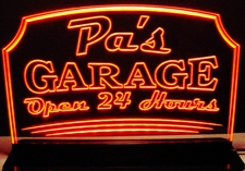 Pa's Garage Open 24 Hours Acrylic Lighted Edge Lit LED Sign / Light Up Plaque Full Size Made in USA