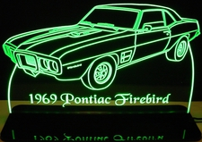 1969 Pontiac Firebird Acrylic Lighted Edge Lit LED Car Sign / Light Up Plaque
