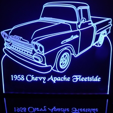 1958 Chevy Apache Fleetside Pickup no spare Acrylic Lighted Edge Lit LED Sign / Light Up Plaque Full Size Made in USA