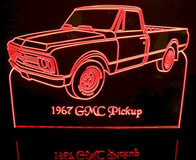 1967 GMC Pickup Truck Acrylic Lighted Edge Lit LED Sign / Light Up Plaque Full Size Made in USA