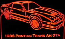 1988 Trans Am GTA Acrylic Lighted Edge Lit LED Sign / Light Up Plaque Full Size Made in USA