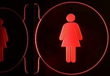 Ladies Restroom Bathroom No Text Left Side Mount Acrylic Lighted Edge Lit LED Sign / Light Up Plaque Full Size Made in USA