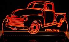 1952 Chevy Pickup 52 Chevrolet Acrylic Lighted Edge Lit LED Truck Sign / Light Up Plaque