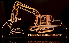 Excavator Backhoe Digger Front End Loader Dirt Mover Acrylic Lighted Edge Lit LED Sign / Light Up Plaque Full Size Made in USA
