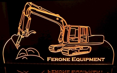 Backhoe Advertising Business Logo (add your text) Acrylic Lighted Edge Lit LED Sign / Light Up Plaque Full Size Made in USA