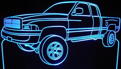 2001 Dodge Ram 1500 Acrylic Lighted Edge Lit LED Sign / Light Up Plaque