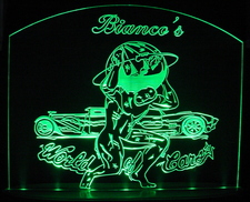 Company Logo Advertising Business Bianco Sample Only (design not for sale)  Acrylic Lighted Edge Lit LED Sign / Light Up Plaque Full Size Made in USA Original
