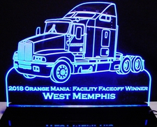 Semi Truck Kenworth Acrylic Lighted Edge Lit LED Sign / Light Up Plaque Full Size Made in USA