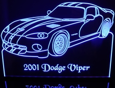 2001 Dodge Viper Acrylic Lighted Edge Lit LED Car Sign / Light Up Plaque
