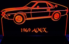 1969 AMC AMX Acrylic Lighted Edge Lit LED Car Sign / Light Up Plaque