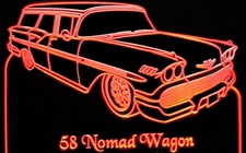 1958 Nomad Wagon Acrylic Lighted Edge Lit LED Sign / Light Up Plaque Full Size Made in USA