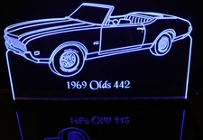 1969 Olds 442 Convertible Acrylic Lighted Edge Lit LED Sign / Light Up Plaque Full Size Made in USA