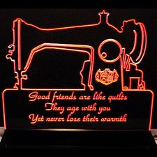 "Sewing Machine Quilt Making (11"" only) Acrylic Lighted Edge Lit LED Sign / Light Up Plaque Full Size Made in USA"