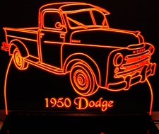 1950 Dodge Pickup Truck PU Acrylic Lighted Edge Lit LED Sign / Light Up Plaque Full Size Made in USA