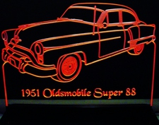 1951 Oldsmobile Olds Super 88 Acrylic Lighted Edge Lit LED Sign / Light Up Plaque Full Size Made in USA