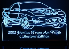 2002 Trans Am WS6 Acrylic Lighted Edge Lit LED Sign / Light Up Plaque Full Size Made in USA