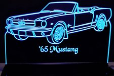 1965 Mustang Convertible Acrylic Lighted Edge Lit LED Sign / Light Up Plaque Full Size Made in USA