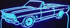 1967 Galaxie Convertible Acrylic Lighted Edge Lit LED Sign / Light Up Plaque Full Size Made in USA