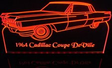 1968 Cadillac Coupe DeVille Acrylic Lighted Edge Lit LED Sign / Light Up Plaque Full Size Made in USA