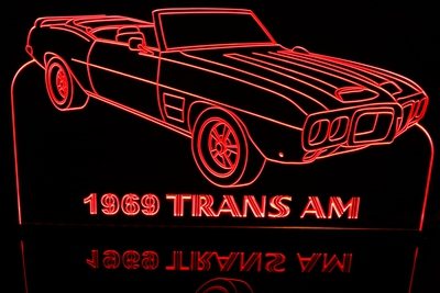 1969 Trans Am Convertible Acrylic Lighted Edge Lit LED Sign / Light Up Plaque Full Size Made in USA