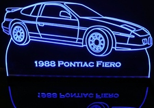 1988 Pontiac Fiero Acrylic Lighted Edge Lit LED Sign / Light Up Plaque Full Size Made in USA