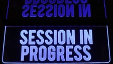 SESSION IN PROGRESS Recording Music Studio Ceiling Mount Acrylic Lighted Edge Lit LED Sign / Light Up Plaque Full Size Made in USA