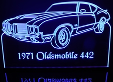 1971 Oldsmobile Olds 442 2 Door Acrylic Lighted Edge Lit LED Sign / Light Up Plaque Full Size Made in USA