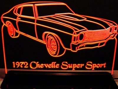 1972 Chevelle Super Sport Acrylic Lighted Edge Lit LED Sign / Light Up Plaque Full Size Made in USA