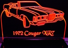1972 Cougar XR7 Acrylic Lighted Edge Lit LED Sign / Light Up Plaque Full Size Made in USA