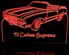 1972 Cutlass Supreme Convertible Acrylic Lighted Edge Lit LED Sign / Light Up Plaque Full Size Made in USA