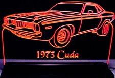 1973 Barracuda Cuda Acrylic Lighted Edge Lit LED Sign / Light Up Plaque Full Size Made in USA