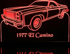 1977 El Camino LH Acrylic Lighted Edge Lit LED Sign / Light Up Plaque Full Size Made in USA