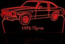 1978 Nova LH Acrylic Lighted Edge Lit LED Sign / Light Up Plaque Full Size Made in USA