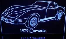 1979 Corvette LH Acrylic Lighted Edge Lit LED Sign / Light Up Plaque Full Size Made in USA