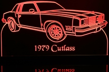 1979 Cutlass RH Acrylic Lighted Edge Lit LED Sign / Light Up Plaque Full Size Made in USA