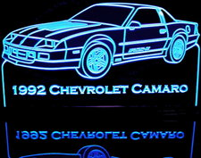 1992 Camaro IROC-Z Acrylic Lighted Edge Lit LED Sign / Light Up Plaque Full Size Made in USA