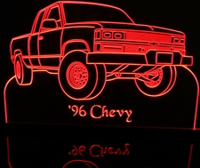 1996 Chevy Pickup Truck Acrylic Lighted Edge Lit LED Sign / Light Up Plaque Full Size Made in USA