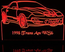 1998 Trans Am WS6 Acrylic Lighted Edge Lit LED Sign / Light Up Plaque Full Size Made in USA