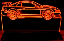 2000 Mustang Cobra R Acrylic Lighted Edge Lit LED Sign / Light Up Plaque Full Size Made in USA