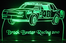 Race Car SAMPLE ONLY Acrylic Lighted Edge Lit LED Trophy Sign / Light Up Plaque
