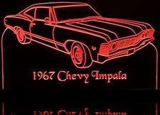 1967 Chevy Impala SS Fastback Acrylic Lighted Edge Lit LED Car Sign / Light Up Plaque 67 FB Chevrolet