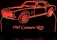 1967 Chevy Camaro RS Only Convertible Acrylic Lighted Edge Lit LED Car Sign / Light Up Plaque Chevrolet